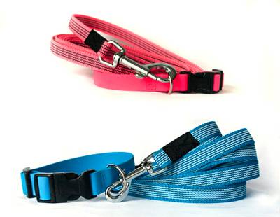 Dog collar and leash rubber webbing