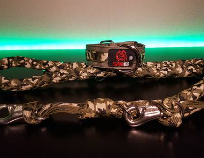 Dog collar and leash green camouflage