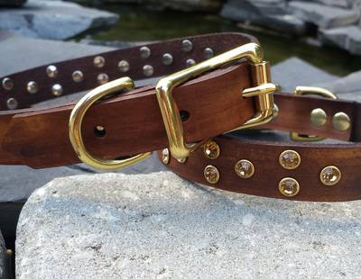 Dog collar timber brown