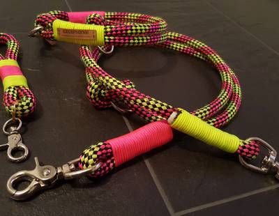 Dog leashes pink/yellow