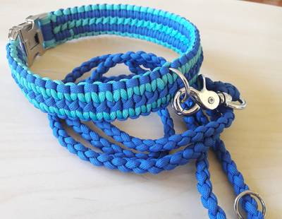 Paracord collar and leash blue