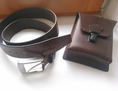 Leather belt and small bag
