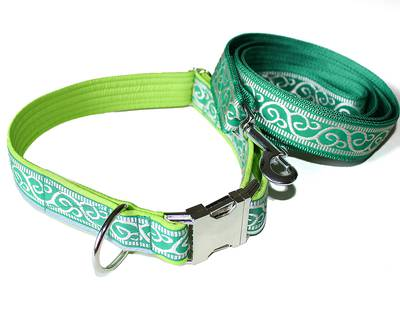 Collar and leash green