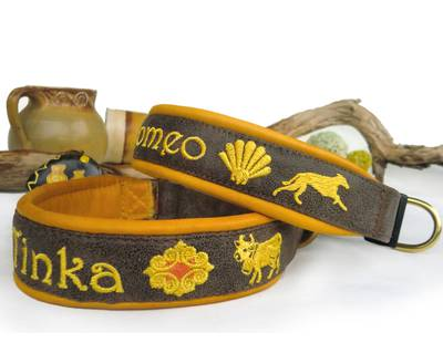 Dog collar - brown/gold