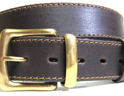 Belt with  antique brass buckle