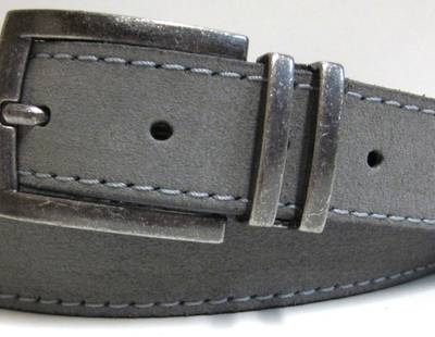 Leather belt grey