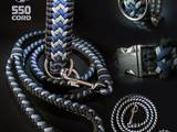 Paracord collar and leash blue/grey/white