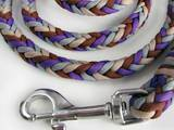 Paracord leash violet, beige, brown