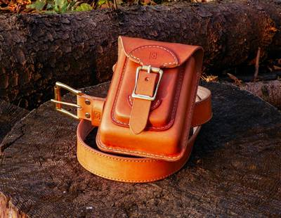 Leather belt with bag