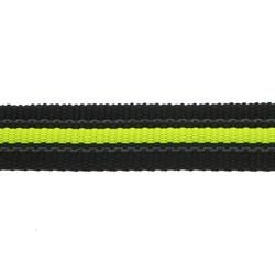 Black Rubber Webbing with fluorescent yellow