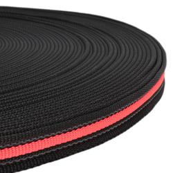 Black Rubber Webbing with fluorescent pink