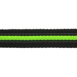Black Rubber Webbing with fluorescent green