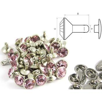 Rivet strass rose - fermé