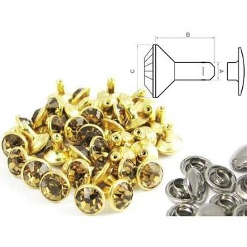 Rivet strass or - fermé (100 pcs)