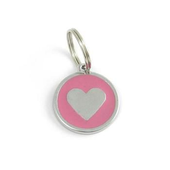 Dog identity ID tag - Heart pink
