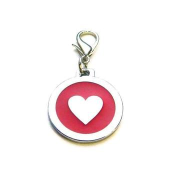 Dog identity ID tag - Heart Red