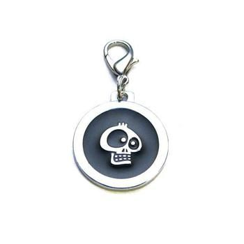 Dog identity ID tag - Skull Black