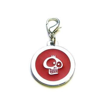 Dog identity ID tag - Skull Red