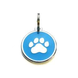 Dog identity ID tag - Paw Blue