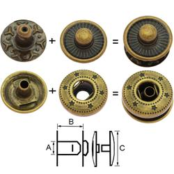 Boutons rivets - Boutons-pression 12mm