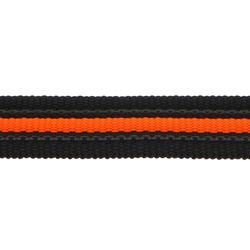Black Rubber Webbing with fluorescent orange