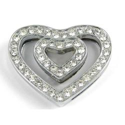Slider charm - Double Heart 18mm
