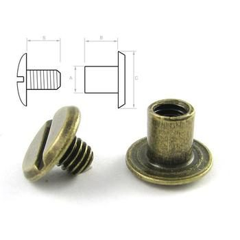 Steel screw post M4x6 (100 pcs) - Antique Brass