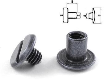 Steel screw post M4x6 (100 pcs) - Black Nickel